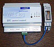 WEB'log light datalogger with attached pulse single phase kWh meter.