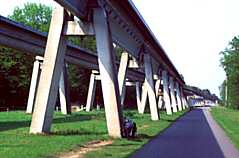 Hundreds of concrete pillars support the probe trajectory for the high-speed magnetic train between Papenburg and Haren in Nordrhein-Westfalen, Germany, just across the border from the Netherlands.