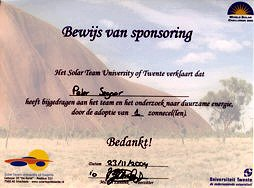 Proof of sponsorship of one solar cell for STUT's participation in the World Solar Challenge 2005  in Australia.