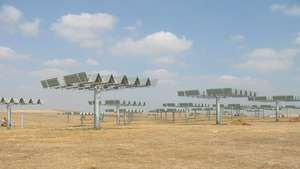 Artist impression of concentrating PV-plant on solar trackers near Sanlúcar la Mayor/Sevilla, Andalucía, southern Spain.