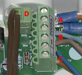 detail of data (A, D) and AC power connections (B, C) in solar indicator box for 108 Wp group