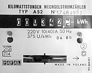 display of analog meter with turning disk. Important: number of revolutions per kWh (375) for calibration.