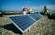 starting up our own green power production unit: 4 solar panels, March 2000